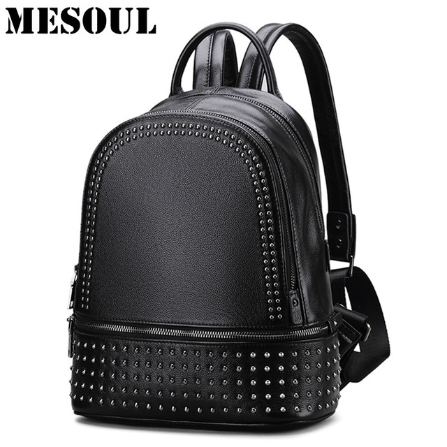 Womens Genuine Leather Backpacks Rivet Black Daily Backpack Girls Shoulder  Bag Fashion Backpack Teenage Girls School Travel Bags 32300cd98f64f