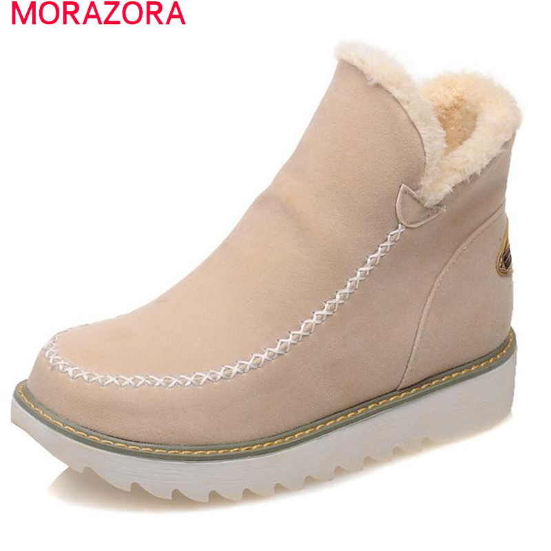 MORAZORA 2018 New arrive winter snow boots for women solid slip-on ankle boots flat with flock big size 34-43
