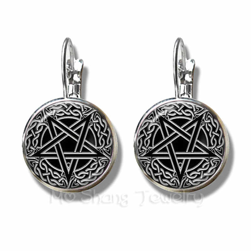 Satanic Baphomet Pentagram Bracelet Gothic Silver Plated Earrings Satanism Evil Occult Pentacle Jewelry Pagan Charm Stud Ear