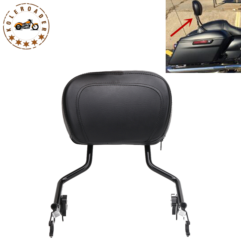 Motorcycle Adjustable Detachable Backrest Sissy Bar + Cushion Pad for Harley Touring Road King Street Glide CVO 2009-2017 MBT010 motorcycle chrome luggage rack for harley touring road king street glide cvo road glide street electra glide flhr 2009 2017 16