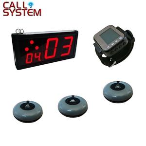 Image 1 - 1 écran 15 boutons cloche 1 poignet téléavertisseur table basse système de bouton dappel sans fil