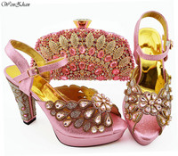 New Pink color Italian Shoes With Matching Bags African Women Shoes and Bags Set For Prom Party Summer Sandal WENZHAN B94 5