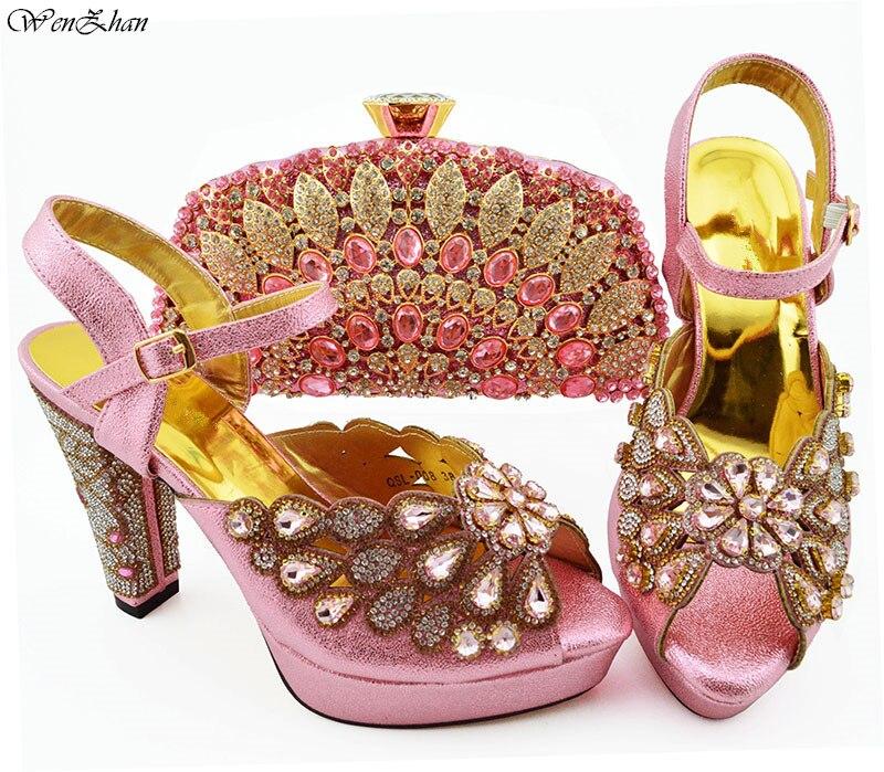 Color Mujer De Bolsos Juego Rosa Y Africanos Nuevos Zapatos Italianos A Para Con xoCeBd