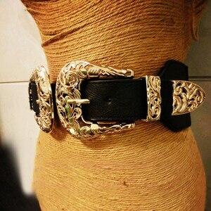 Image 3 - Ремень с металлической пряжкой Женский, модный винтажный кожаный пояс, эластичный дизайнерский пикантный широкий пояс с золотым отверстием