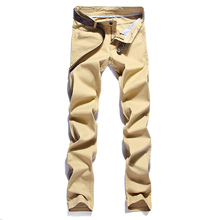 2018 New Design Casual Men Twill Pants Cotton Slim Pant Trousers Fashion Business Solid Khaki Black Pencil No Belt