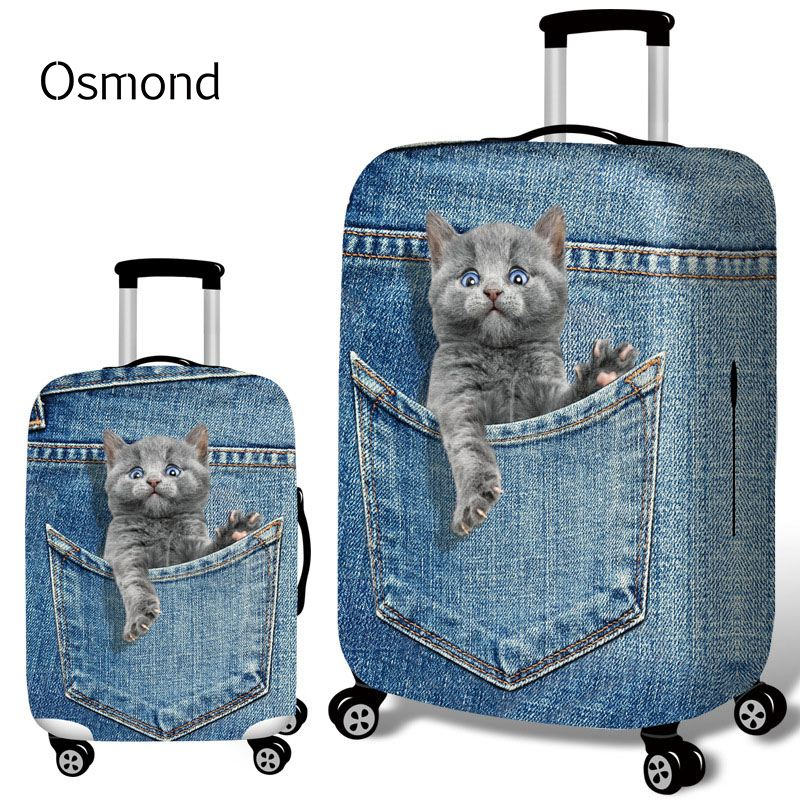 Luggage Protective Covers with Cute Cat Washable Travel Luggage Cover 18-32 Inch
