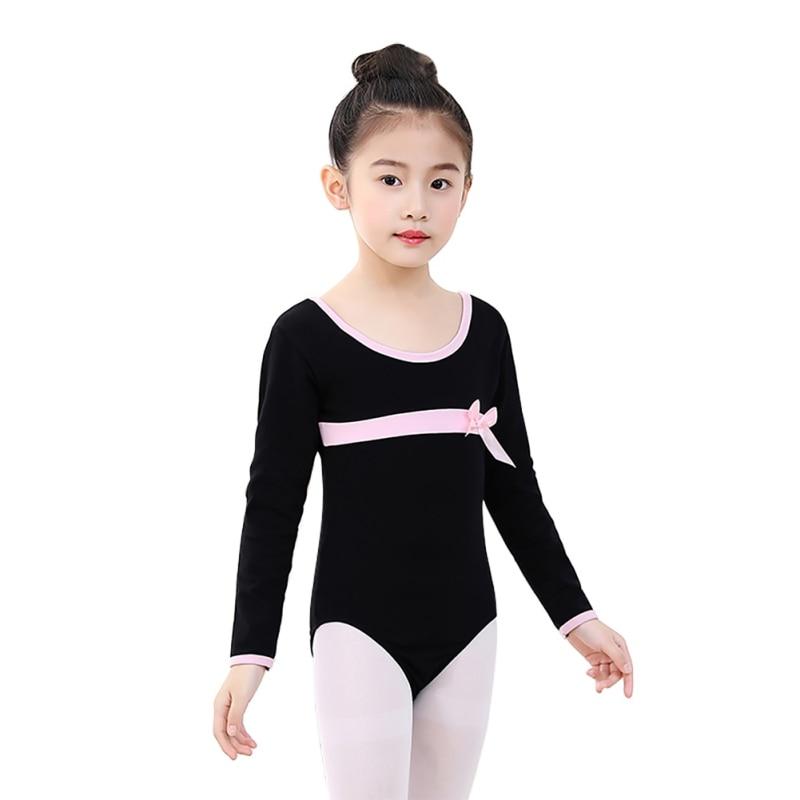 Girls Ballet Leotards Dancewear Bodysuits Kids Children Long Sleeve Bow Tie Athletic Gymnastics Costumes