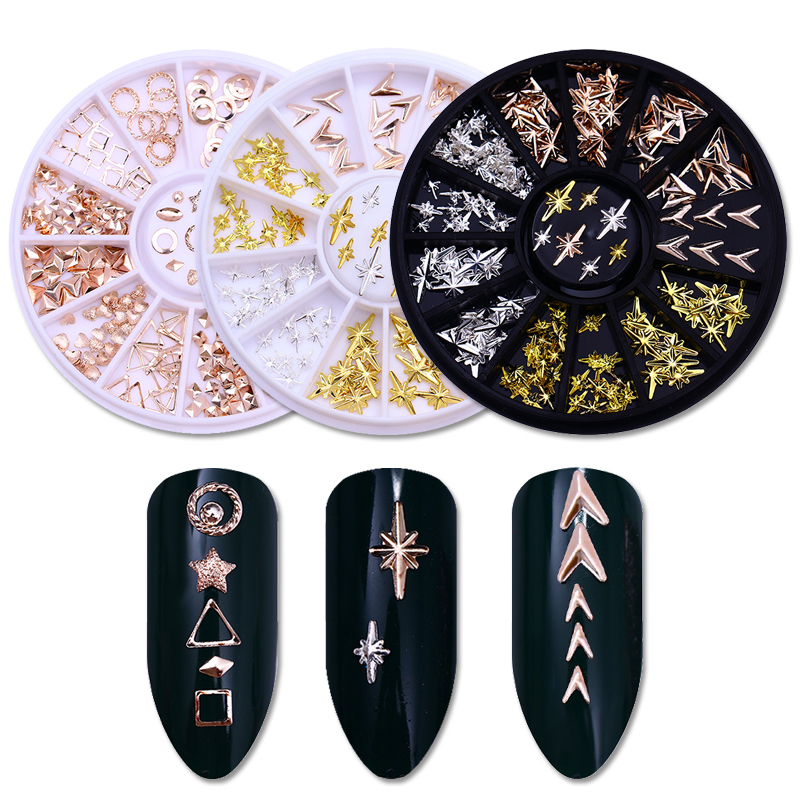 1 Box Rose Gold Rivet Alloy V-shaped Arrow Starlight Nail Studs Geometry Star Round Triangle 3D Nail Art Decoration in Wheel