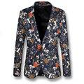 2016 Мужчины Цветочный Вечернее Платье Костюмы Пиджаки мужская Повседневная Мода Slim Fit Большой Размер С Длинными Рукавами Одной Кнопки Стиль Blazer костюм