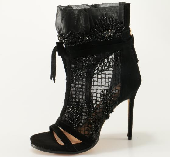2018 Ladies Lace Up High Heel Boots Sandals Crystal Cover Elegant Black Lace Women Peep Toe Ankle Boots Ankle Bandage Boots artificial leather splicing lace bandage leggings black
