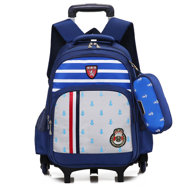 Children Trolley Backpack School Bags For Boys Wheeled Bag Student ...