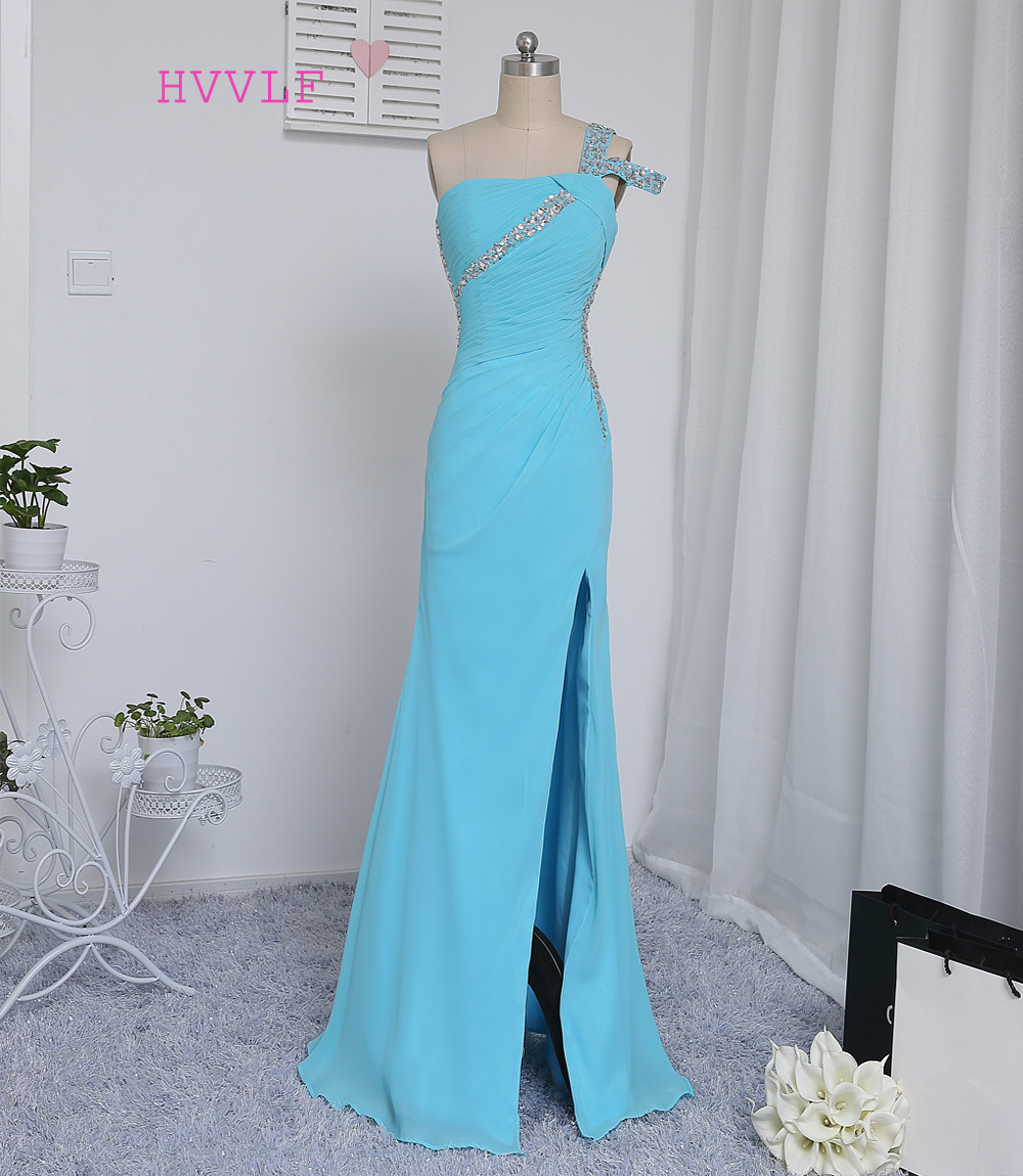 HVVLF Sky Blue 2019   Prom     Dresses   Mermaid Open Back Beaded Crstals Sexy Slit Long   Prom   Gown Evening   Dresses   Evening Gown