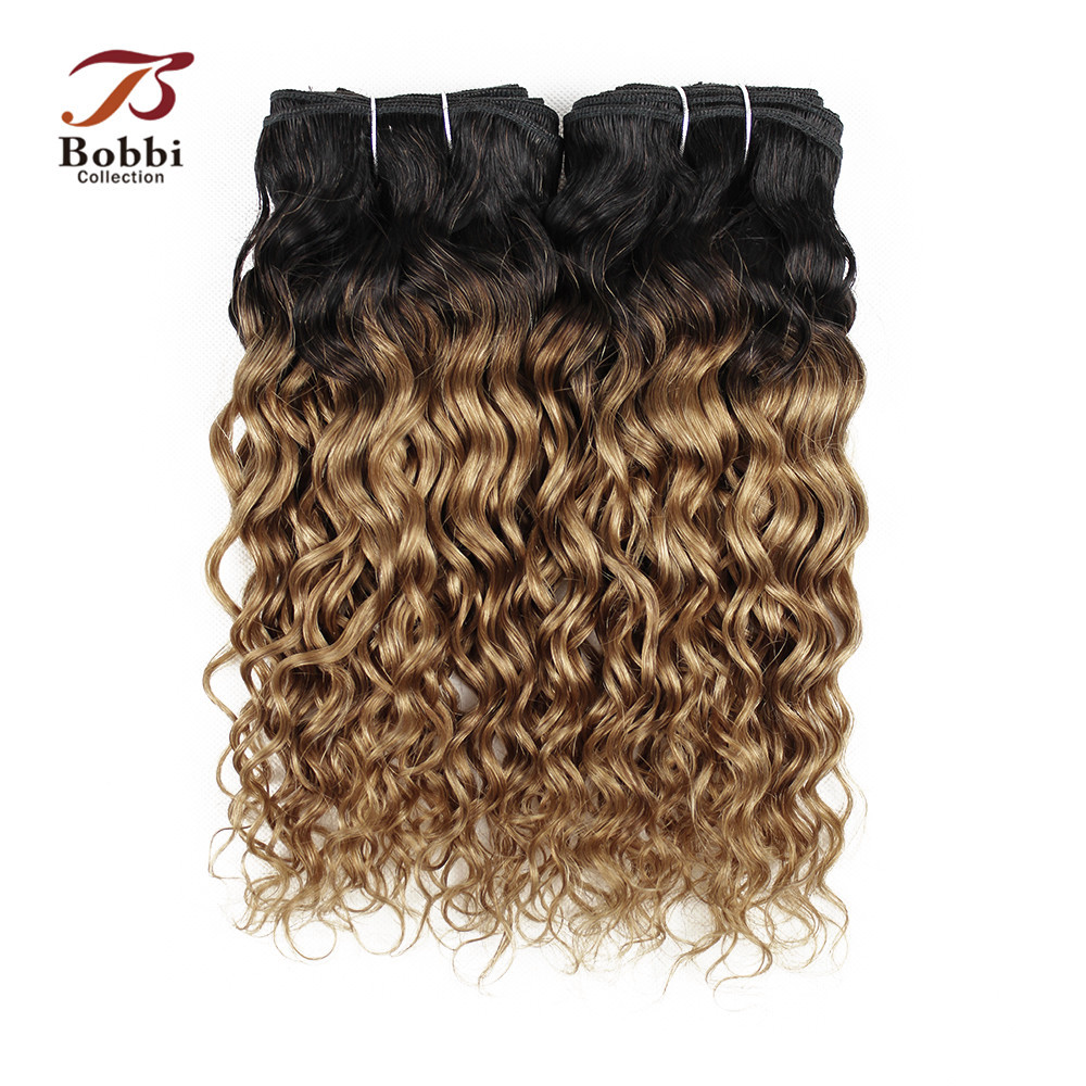 Bobbi Collection 2/3 Bundles Brazilian Water Wave Two Tone T 1B 27 Ombre Honey Blonde Pre-Colored Remy Human Hair Extension