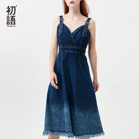 Toyouth Outerwear Jeans Spaghetti Strap Dress For Women 2018 Fashion Gradient Color Tassel Backless Bodycon Denim Dresses