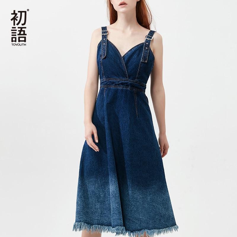 Toyouth Survêtement Jeans Spaghetti robe à bretelles Pour Femmes 2019 Gradient De Mode Couleur Gland Dos Nu Moulante robes denim