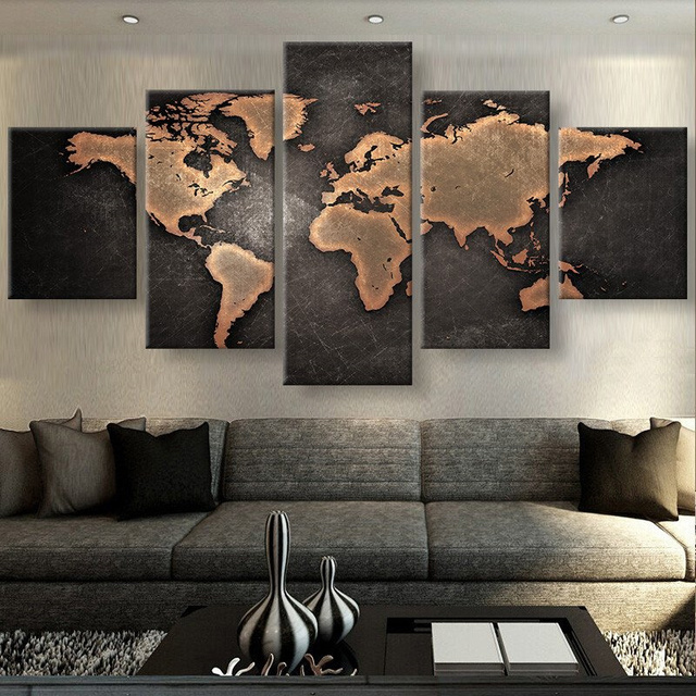 5 panels canvas prints rustic world map vintage canvas painting poster home decor wall art for