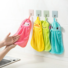 Cute Animal New Candy Colors Soft Coral Velvet Cartoon Towel Can Be Hung Kitchen used