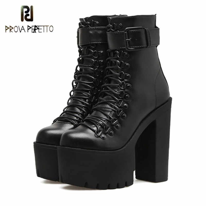 Prova perfetto Moda Motosiklet Botları Kadın Deri Ilkbahar Sonbahar Metal Toka Yüksek Topuklu Ayakkabılar Siyah yarım çizmeler Kadın Bağlama