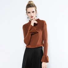 Yovamoo Knitwear Women 2018 Autumn Winter Vintage Flare Sleeve Solid Color Slim Basic Pullover Knitted Sweater Sueter Mujer