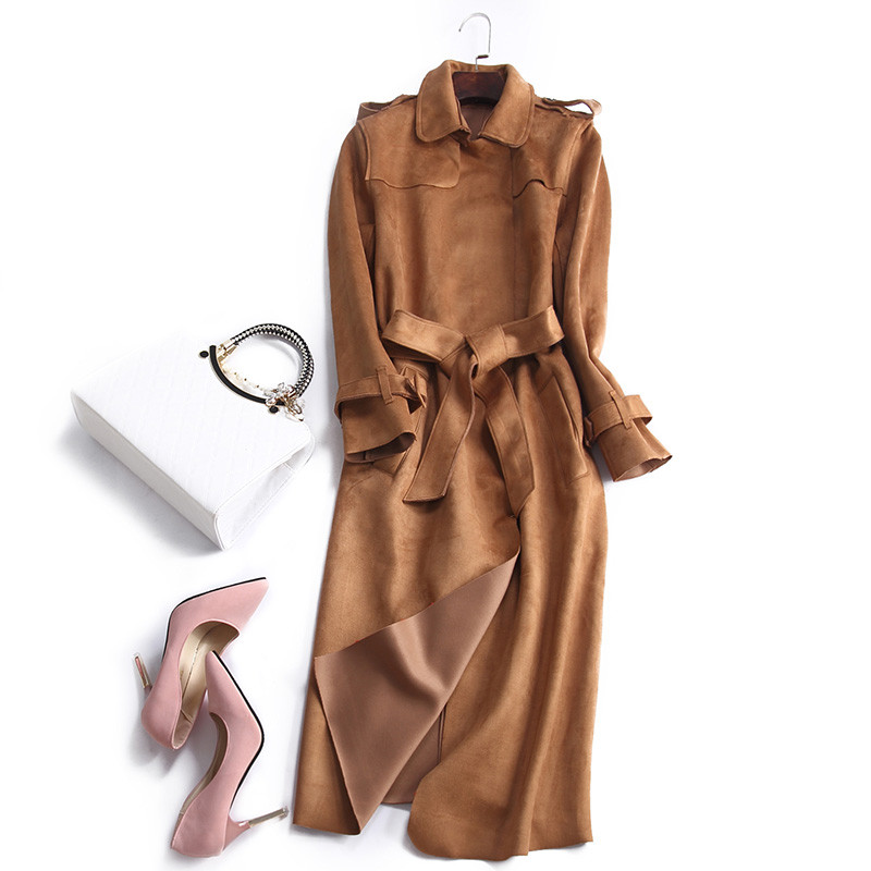 2018 New Spring Autumn Suede Trench Coat Women Long Elegant Outwear Female Overcoat Slim Cardigan Trench Coat YP1644