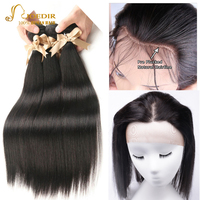 Joedir Hair Indian Straight 2 3 4 Human Hair Bundles With 360 Lace Closure Pre Plucked With Baby Hair Factory Supply No Tangle