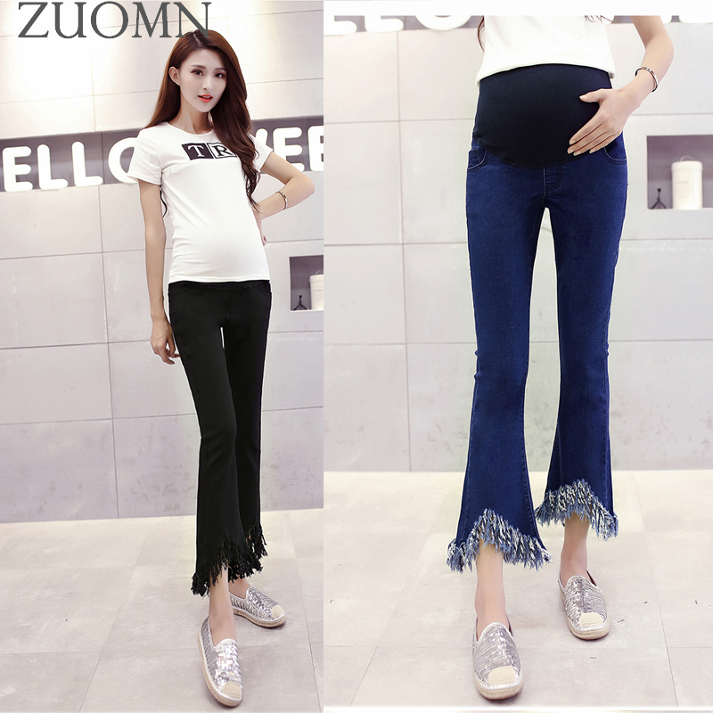 Fashion Personality Hole Maternity Jeans Pregnancy Clothing Large Maternity Women Loose Trousers Pregnant Cotton Jeans GH408 woman fashion slim solid knee distrressed maternity wear jeans premama pregnancy prop belly adjustable pants for women c73