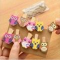 16 pcs 0.7*3.5cm Creative cartoon owl rope wood clip cute  photo clip 4Z1459