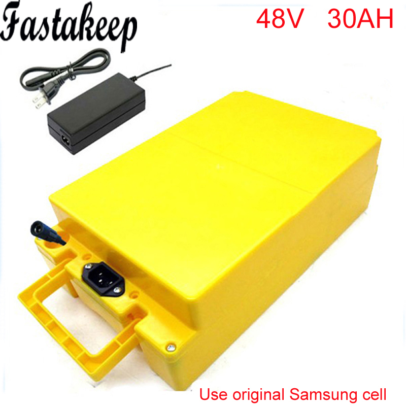 48V 30AH Lithium Battery with 2000W BMS Chargrer ,E-bike Electric Bicycle Scooter 48V battery +Waterproof case For Samsung cell electric bike battery 48v 30ah 2000w for samusng cell electric bicycle battery triangle lithium ion battery pack with 50a bms