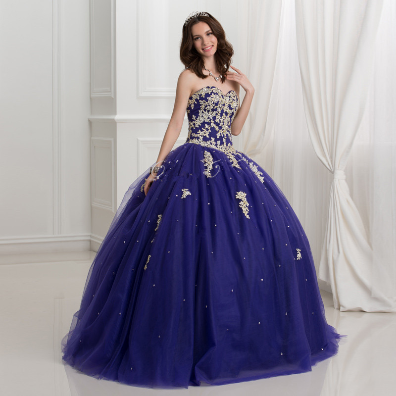 df44502990f Dark Royal Blue Ball Gown Quinceanera Dresses With Gold Lace Applique 2016  Puffy Sweet 16 Dress Plus Size Vestidos Debutante-in Quinceanera Dresses  from ...
