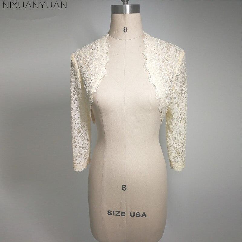 Elegant 2020 New Shares Of Women Girls 3/4 Long Sleeve White Lace Shoulders Cropped Bolero Jacket Wedding White Wedding Wraps