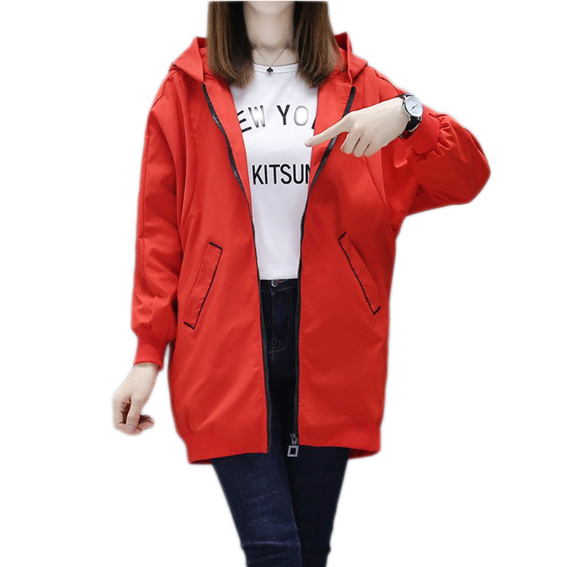 2019 Spring Autumn Women   Basic     Jacket   Pocket Zipper Hooded Outwear Loose Coat Windbreaker Female Women's spring casual   jacket