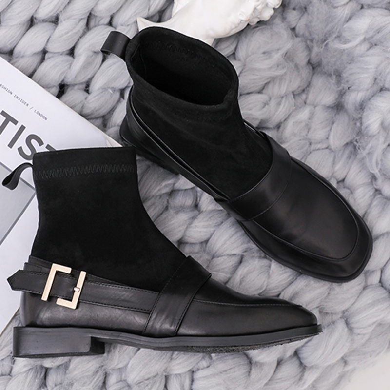 Moxxy Winter Leather Boots Women Warm Sock Ankle Boots Women Flat Shoes  Woman Rubber Autumn Platform Boots Bottes Femme 2018-in Ankle Boots from  Shoes on ... 47a067e37477