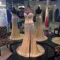 Sexy querida coxa alta fenda cristal Champagne longo Prom vestidos com Train abrir voltar Evening partido vestidos 2015 nova moda