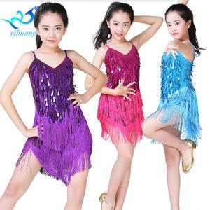Image 2 - Children Latin Dance Dress Girls Ballroom Dance Competition Dresses kids Salsa /Tango / Cha Cha Rumba Stage Performance Outfits