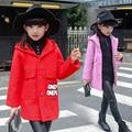 Los niños Ropa de Invierno Fresco Agradable Adolescente Con Capucha Para Niñas Impresión de la Letra Niños Muchachas de La Manga Larga 2016