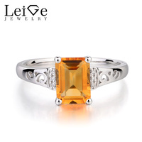 Leige Jewelry Genuine Solid 925 Sterling Silver Natural Citrine Promise Rings Emerald Cut Yellow Gemstone November
