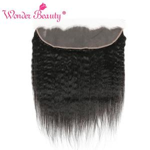 Image 4 - Kinky Straight Hair 3 Bundles With Frontal Brazilian Hair Weave Bundles Corase Yaki Hair Bundles Non Remy Hair Extension