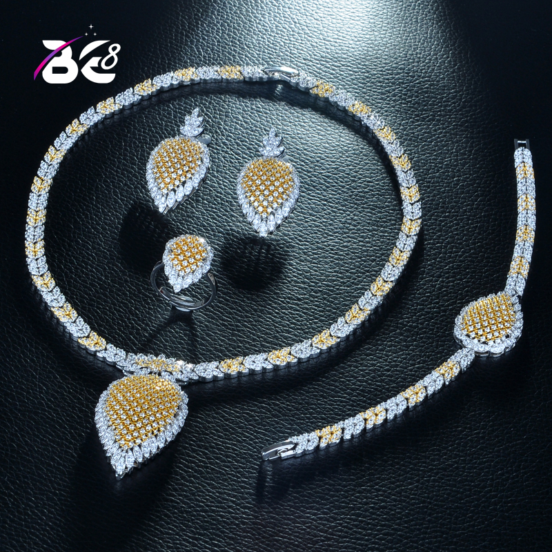 Be 8 Luxury Clear Cubic Zircon Trendy Jewelry Set for Women Bridal 4pcs Jewelry Sets Women Dress Accessories Saudi Arabic S270