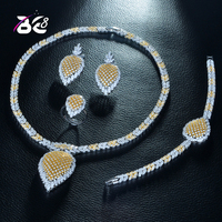 Be 8 Luxury Clear Cubic Zircon Trendy Jewelry Set for Women Bridal 4pcs Jewelry Sets Women Dress Accessories Saudi Arabic S270