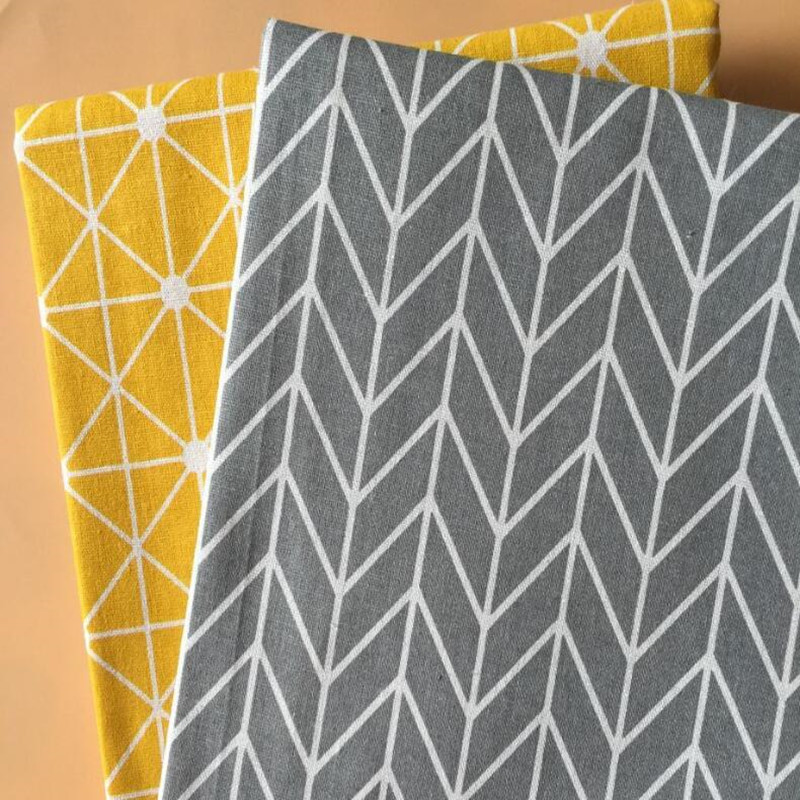 Geometric Patterns Printed Cotton Linen Fabric Wear Resistant Canvas Linen Cotton Fabric For DIY Sewing Quilting Home Textile in Fabric from Home Garden