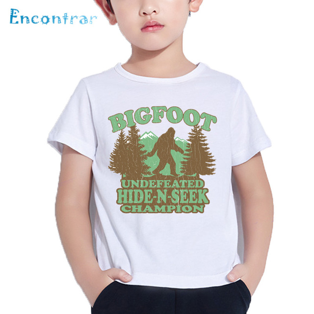 8e426298 Kids Bigfoot Hide-N-Seek Champion Print Funny T shirt Baby Summer  Comfortable Tops Boys and Girls Casual T-shirt,HKP5600