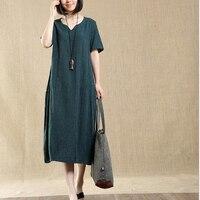 2017 Newest Trendy Spring Summer Short Sleeve Dress Fashion Women S Plus Size Loose Cotton Linen