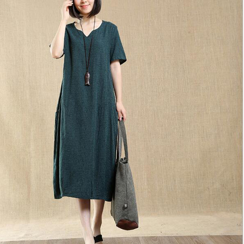 2017 Newest Trendy Spring Summer Short Sleeve Dress Fashion Womens Plus Size Loose Cotton Linen Solid Dess Robe Maxi Dresses