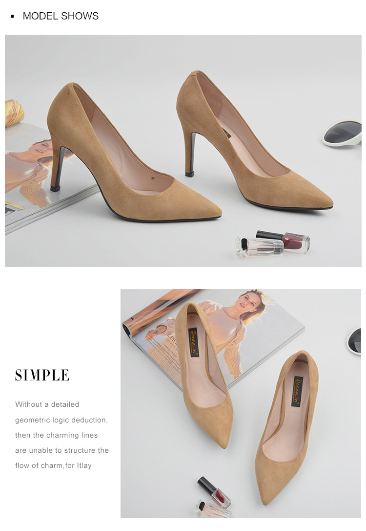 Donna-in 2017 New Style High heels pumps Natural suede leather Sexy Pointed Toe Office Singles Heeled woman Shoes 3255-1 (6)