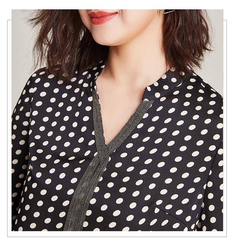 2019 nueva moda 100% poliéster suave telas finas mujeres puntos impresión camisetas Vneck manga larga Camisetas talla grande L 6XL - 6