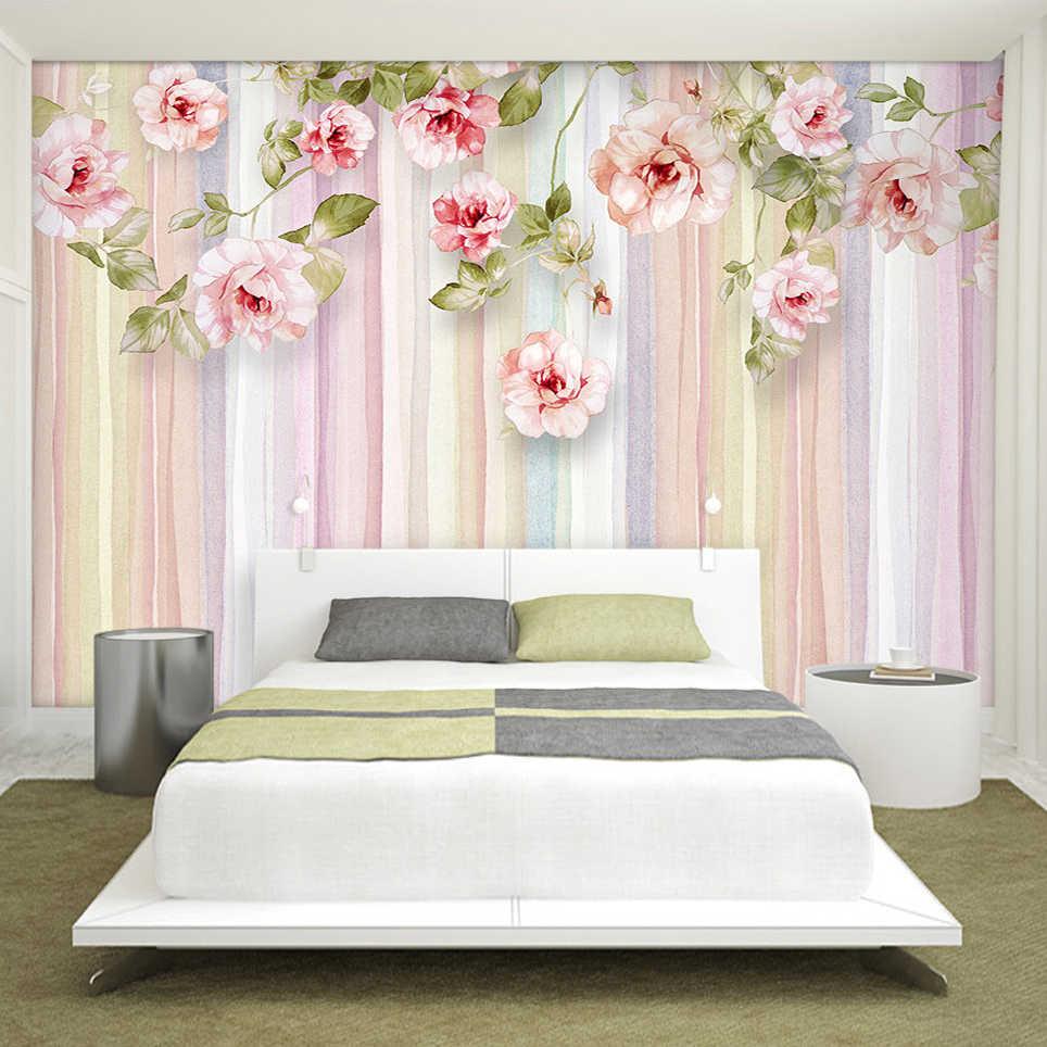 Personalizado 3D Foto Papel De Parede em Estilo Europeu Flor Rosa Sala de estar Sofá Quarto Fundo Listrado Papel De Parede Mural De Parede 3D