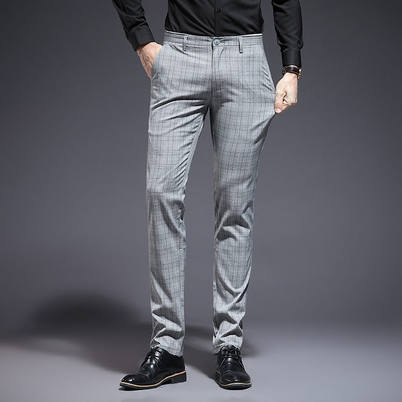 LOLDEAL  Summer Fashion Business Plaid Suit Pants Men