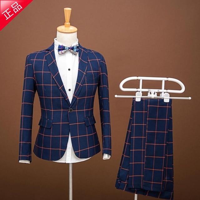 New Man Blue Plaid Suit Man Slim   Breasted Wedding Groom Suit with Pants Tuxedo Custom Homme Trajes De Novio Hombre