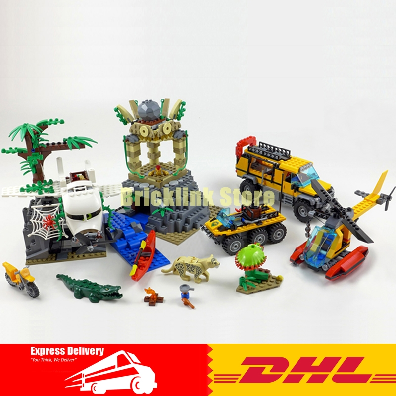 Lepin City 02061 Series 870Pcs The Jungle Exploration Site Set Children Educational Building Toys Kits Compatible with 60161 lepin 02061 genuine city series the jungle exploration site set 60161 building blocks bricks christmas gift for children 870pcs