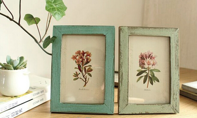 2pcs/lot Retro Vintage Wood Photo Frame Art Decor Home Decoration Table  Picture Frames Wedding Frames Foto Wall ADD Brand